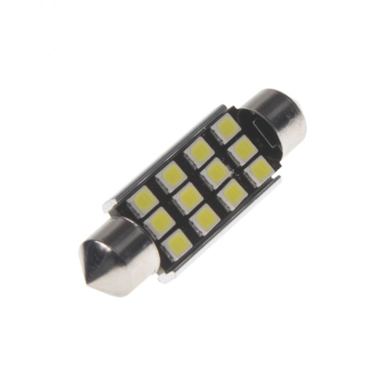 Žárovka LED 12V s paticí sufit (42mm), 12LED/2835SMD s chladičem