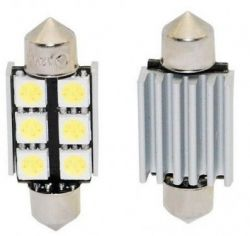 Žárovka LED 12V s paticí sufit (36mm), 6LED/3SMD s chladičem